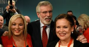 Michelle O'Neill, Sinn Féin's leader in the Northern Ireland Assembly, party president Gerry Adams and deputy leader Mary Lou McDonald at party's ardfheis in Dublin in November. Photograph: Clodagh Kilcoyne/Reuters
