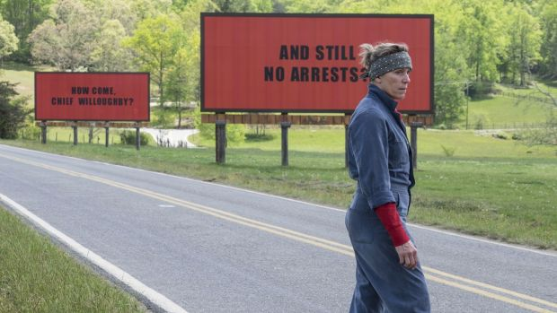 "This image released by Fox Searchlight shows Frances McDormand in a scene from ""Three Billboards Outside Ebbing, Missouri."" The film was nominated for an Oscar for best picture on Tuesday, Jan. 23, 2018. The 90th Oscars will air live on ABC on Sunday, March 4. (Fox Searchlight via AP)"