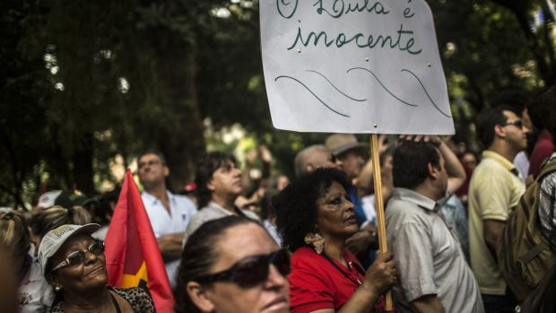 Supporters of former president Luis Inacio Lula da Silva gather at a public square ahead of his appeal. He is the clear front-runner in opinion polls. Photograph: Dado Galdieri/Bloomberg
