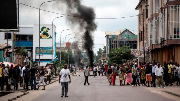 Protesters burn tyres during a demonstration in Kinshasa calling for President Joseph Kabila of the Democratic Republic of the Congo to step down on, January 21st, 2018. Photograph: John Wessels/AFP/Getty Images