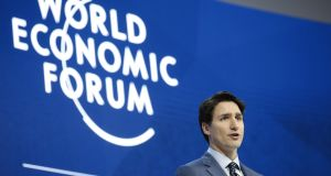 Canada's prime minister Justin Trudeau speaks during a special session on the opening day of the World Economic Forum in Davos, Switzerland. Photograph: Jason Alden/Bloomberg