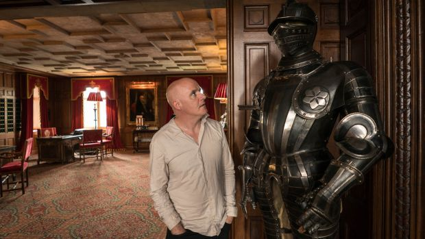 Conor Pope squares up to a suit of armour. Photograph: Keith Heneghan/Phocus