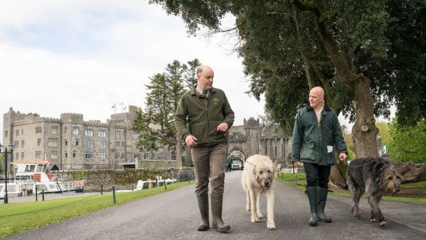 Conor Pope, right, with James Knight and his Irish wolfhounds Cronan and Garvan. Photograph: Keith Heneghan/Phocus