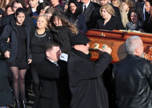 Dolores O'Riordan's mother, Eileen and daughters, Molly and Dakota follow behind her remains pictured at the funeral of Cranberries singer, Dolores O'Riordan this afternoon at the Church of St. Ailbe, Ballybricken, Limerick....Picture Colin Keegan, Collins Dublin.