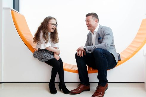 Guest of honour Michaela Morley (13) from Mayo is pictured with Brian O'Driscoll at the official opening of the new €5.5m Neurology and Renal outpatients unit in Temple Street, entirely funded by public donations. Photo:Andres Poveda