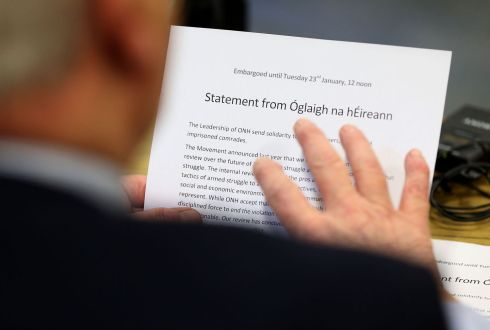 A statement from Oglaigh na hEireann declaring a ceasefire which was read out at a press conference at the ICTU building in Belfast. Photo: Brian Lawless/PA Wire