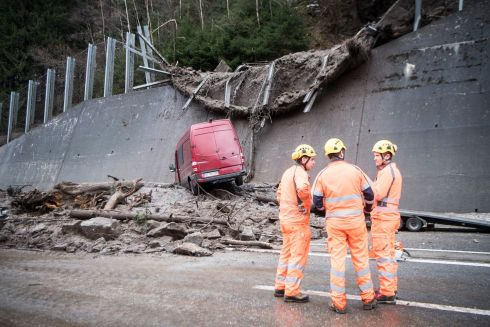 A Mudslide Spilled on to the A2 highway between the Wilerplanggen and the Ripplistal gallery, Switzerland for a width of 50 meters, and damaged infrastructure and lanes in both directions. EPA/URS FLUEELER