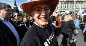 Minister Katherine Zappone at the March for Choice in Dublin last September.  File photograph: Dara Mac Dónaill