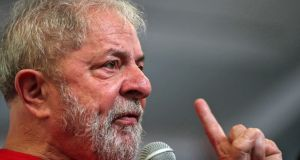 Former Brazilian president Luiz Inacio Lula da Silva: his Workers Party has vowed to launch his candidacy regardless of Wednesday's decision.  Photograph: Fernando Bizerra Jr/EPA