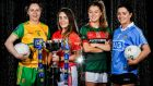 Róisín Friel of Donegal, Orlagh Farmer of Cork, Sarah Rowe of Mayo, and Sinead Goldrick of Dublin, at the launch of Lidl's next phase of sponsorship with the Ladies Gaelic Football Association. Photograph: Seb Daly/Sportsfile