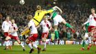 "Ireland's Shane Duffy scoring  against  Denmark last November. Martin O'Neill said the eventual  5-1 loss to Denmark was ""still fresh in the memory"". Photograph: Ryan Byrne/Inpho"