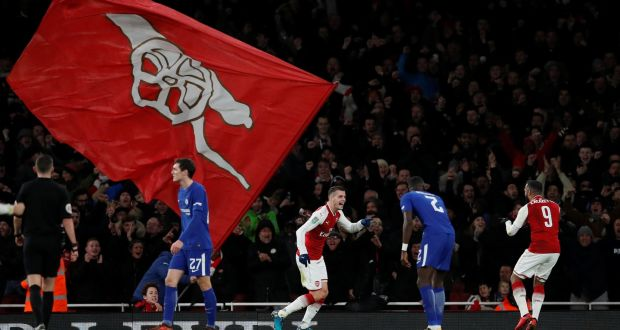 014dee74f Arsenal s Granit Xhaka celebrates scoring their second goal with Alexandre  Lacazette as Chelsea s Antonio Rüdiger looks