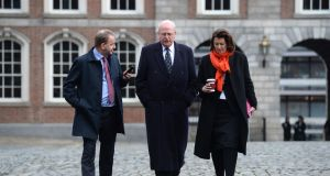 Sgt Maurice McCabe, Michael McDowell SC, and his solicitor Kathryn Ward, arriving at the Disclosures Tribunal in Dublin Castle. Photograph: Dara Mac Dónaill