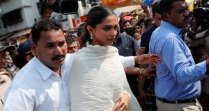 Bollywood actor Deepika Padukone visits a temple in Mumbai on Tuesday before the release of the film Padmaavat, in which she plays  Padmini, a Hindu queen.  Photograph: Danish Siddiqui/Reuters