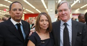 Jill Abramson, pictured in 2011 when she was announced as executive editor of the New York Times, flanked by then managing editor Dean Baquet and outgoing editor Bill Keller. Photograph: The New York Times