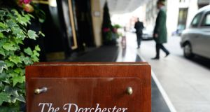 The entrance to the Dorchester Hotel in London, where the Presidents Club held its now infamous fundraising dinner last week. Photograph: Andy Rain/EPA