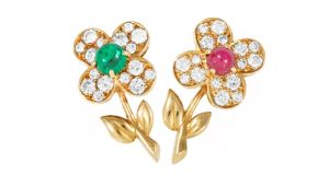 Lot 235, a pair of diamond and gem-set flower brooches by 'Van Cleef & Arpels' €3,200 (€3,500-€5,500) at O'Reilly's