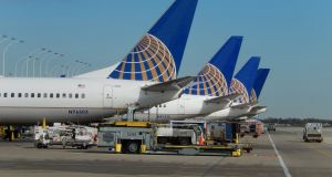 United Airlines jets  parked at  O'Hare International Airport in Chicago, Illinois