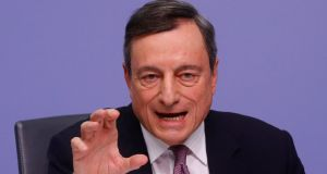 European Central Bank (ECB) president Mario Draghi at  a news conference following the governing council's interest rate decision at the ECB headquarters in Frankfurt. Photograph: Kai Pfaffenbach/Reuters