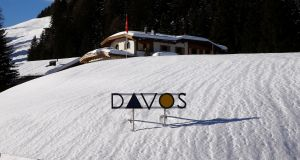 Davos: the World Economic Forum takes over the Swiss mountain resort. Photograph: Arnd Wiegmann/Reuters