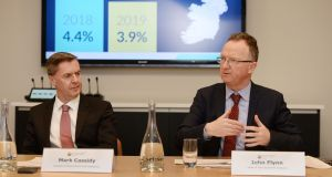 Mark Cassidy, director of economics and statistics and John Flynn, head of Irish economic analysis,  at the publication of the Central Bank's  first quarterly bulletin  of 2018.Photograph: Alan Betson