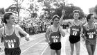 Frank O'Mara, Marcus O'Sullivan, Ray Flynn and Eamonn Coghlan doing a  lap of honour after setting the world record for the 4x1 mile relay on the Belfield track in August 1985.  Photograph: Dermot O'Shea
