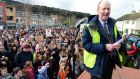Local TD Shane Ross at a 2013 protest rally in Stepaside, Co Dublin, over the closure of the local Garda station. Photograph: Eric Luke