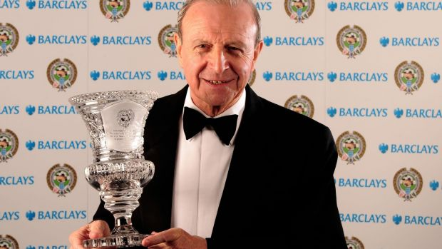Jimmy Armfield with his Special Merit Award in 2008. In later years he became a preceptive radio commentator for BBC. Photograph: PA Wire.
