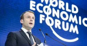 France's president  Emmanuel Macron used the world's biggest stage to press the case for EU tax harmonisation, singling out Ireland as a country that woos overseas firms through an ultra-competitive tax regime. Photograph: Jason Alden/Bloomberg