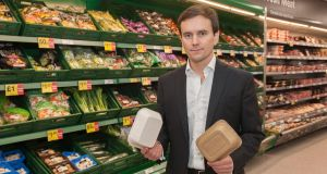 "Iceland managing director Richard Walker with examples of  non-plastic packaging, after the retailer   committed to eliminating plastic packaging for all own-brand products within five years to help end the ""scourge"" of plastic pollution. File photograph: Iceland/PA Wire"