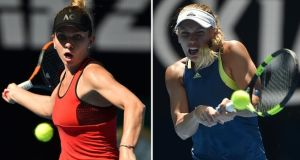 Both Simona Halep (left) and Caroline Wozniacki are trying to win their first grand slam title. Photograph: Peter Parks/AFP/Getty Images