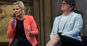Sinn Féin's Michelle O'Neill with the DUP's Arlene Foster.  Photograph: Carl Court/Getty Images