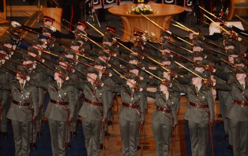 The 78 cadets have successfully completed a 15 month cadetship, preparing them to take up appointments as junior leaders throughout the Army, Air Corps and the Armed Forces of Malta. Photograph: Alan Betson / The Irish Times