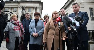 Emma Rogan, daughter of murdered man Adrian Rogan, speaks on behalf of  Loughinisland massacre relatives at Belfast High Court this month. File photograph: Charles McQuillan/Getty Images