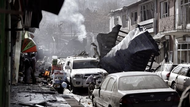 Smoke billows from the scene of the suicide bomb attack in Kabul, Afghanistan. Photograph: Hedatyatullah Amid/EPA