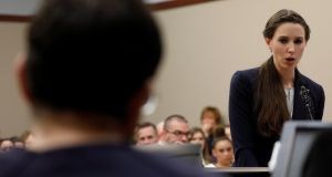 Victim Rachael Denhollander speaks at the sentencing hearing for Larry Nassar, a former team USA Gymnastics doctor who pleaded guilty to sexual assault charges. Photograph: Brendan McDermid/Reuters