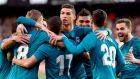 Cristiano Ronaldo and teammates celebrate Toni Kroos' goal. Photograph: Getty Images