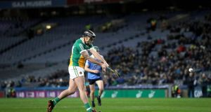 Offaly's Shane Dooley scores a goal with a penalty. Photograph: Ryan Byrne/Inpho