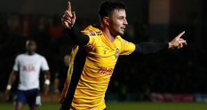 Newport County's Padraig Amond celebrates his goal. Photograph: Matthew Childs/Reuters