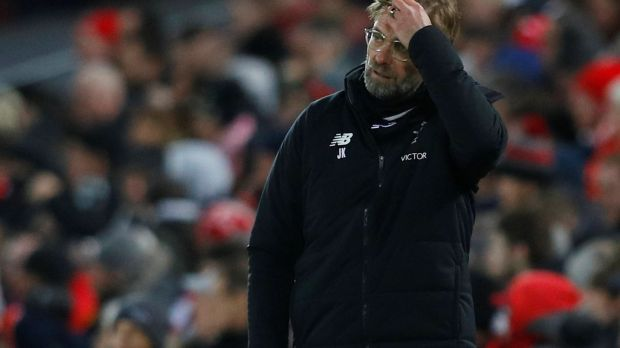 Liverpool manager Jurgen Klopp during the game. Photograph: Phil Noble/Inpho