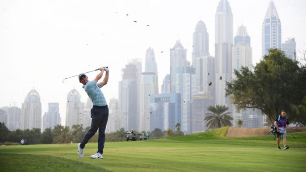 Rory McIlroy in action during the final day in Dubai. Photograph: Ross Kinnaird/Getty