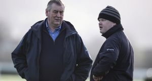 Noel Meade (L) saw Moulin A Vent reel in Gordon Elliott's Jury Duty at Naas. Photograph: Dan Sheridan/Inpho