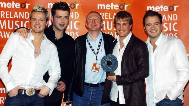 "Louis Walsh with Westlife in 2004: ""They were less trouble [than Boyzone] ... they knew what they wanted and they had great voices."" Photograph: ShowBiz Ireland/Getty"