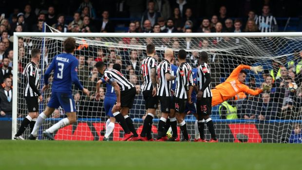 Marcos Alonso scores Chelsea's third against Newcastle. Photograph: Catherine Ivill/Getty