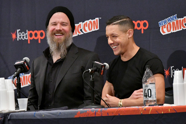 Ryan Hurst and Theo Rossi speak at the Sons of Anarchy panel during 2017 New York Comic Con.