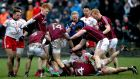 Galway and Tyrone players scuffle suring the Allianz  League Division One game at  Tuam Stadium. Photograph: Bryan Keane/Inpho