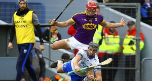 Waterford's Maurice Shanahan in action against Wexford's Lee Chin during the Allianz Hurling League Division 1A match at Walsh Park. Photograph: Ken Sutton/Inpho