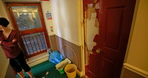 The door to an apartment on Dublin's Mountjoy Square, which was allegedly damaged after landlord Paul Howard allegedly smashed his way in on Sunday morning. Photograph: Nick Bradshaw