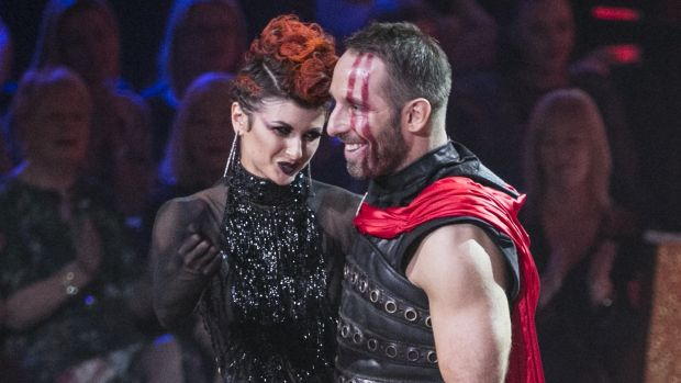 The moment former rugby player Tomás O'Leary and Giulia Dotta were voted of Dancing with the Stars. Photograph: Kyran O'Brien/RTÉ