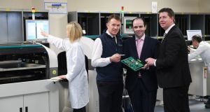 Dr John Daly (left), Dairymaster research and innovation manager; Prof Edmond Harty, Dairymaster chief executive; and Dr Joseph Walsh, Lero researcher and head of the school of Stem at IT Tralee. Photograph: Domnick Walsh